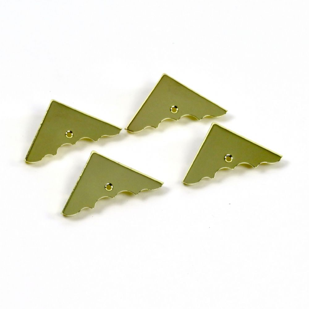 Cigar Box Guitar Part Parts - Decorative Gold Corner Pack of 4 with Screws